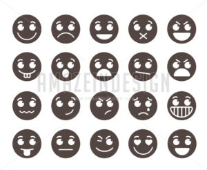 Smiley Flat Vector Emoticons with Emotions - Amazeindesign