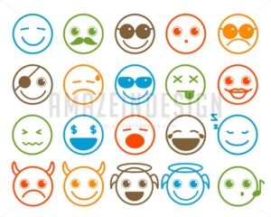Smileys Emoticon Vector Icons Set in Flat Line Circle - Amazeindesign