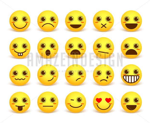 Smileys Face Cute Vector Emoticon Set With Expressions Amazeindesign