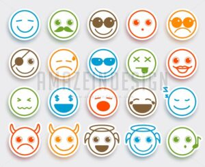 Smileys Face Vector Emoticons Flat Icon Sticker - Amazeindesign