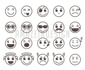 Smileys Faces Flat Line Vector Icons Set in Black Color - Amazeindesign