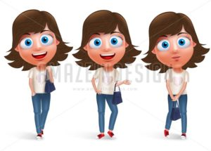 Teen Girl Vector Character Holding Hand Bag - Amazeindesign