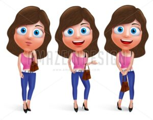 Teenage Girl Vector Characters for Fashion with Pose - Amazeindesign