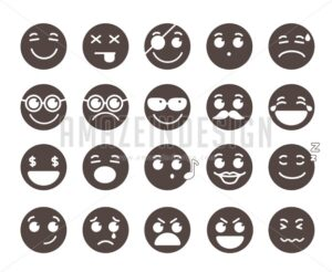 Vector Emoticons Emotions and Facial Expressions - Amazeindesign