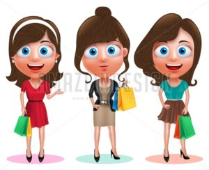 Woman Shopping Vector Characters Holding Bags - Amazeindesign