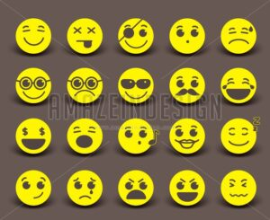 Yellow Smileys Faces Vector Icon and Emoticons - Amazeindesign