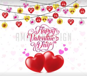 Greeting Card For Valentines Day With Hearts and Banderitas - Amazeindesign