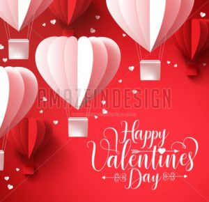 Happy Valentines Day Greetings with Shape Balloons - Amazeindesign