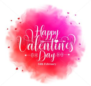 Happy Valentines Day Text in Watercolor Like Texture - Amazeindesign