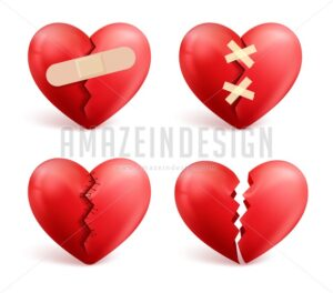 Broken Hearts Vector Set of Icons and Symbols - Amazeindesign