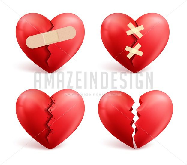 Broken Hearts Vector Set Of Icons And Symbols Amazeindesign