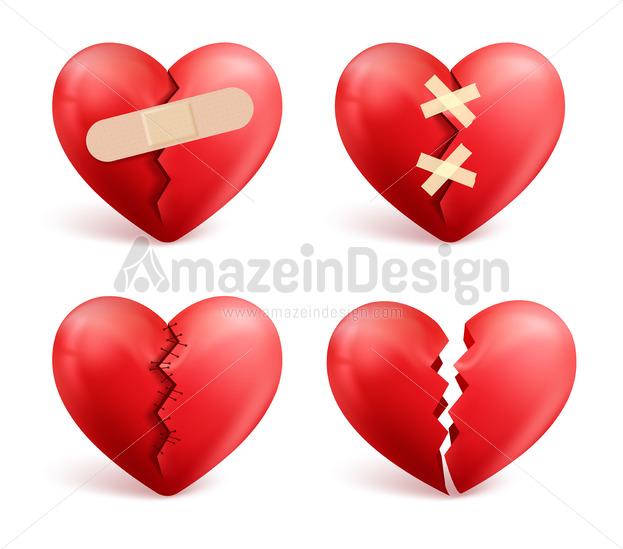 Broken Hearts Vector Set Of Icons And Symbols Amazeindesign