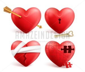Red Hearts Vector 3d Realistic Set for Valentines - Amazeindesign