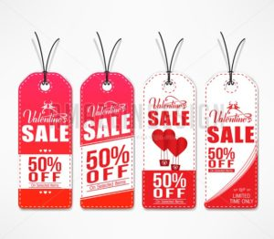 Valentines Day Sale Tags In Red And White Color - Amazeindesign