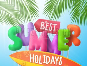 Best Summer Holidays Vector Banner with Colorful 3d Text - Amazeindesign