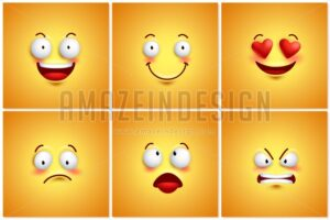 Funny Smileys Vector Poster Wallpaper Backgrounds Set - Amazeindesign