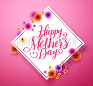 Happy Mothers Day Typography Greetings Card Design in Vector - Amazeindesign