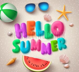 Hello Summer Colorful Text Vector Banner in the Beach - Amazeindesign