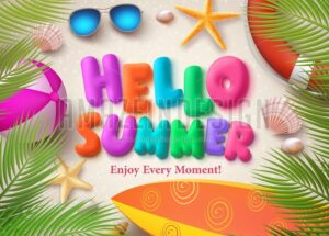 Hello Summer Colorful Vector Text Banner Design - Amazeindesign