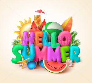 Hello Summer Text Banner Vector Design with Colorful Summer Elements - Amazeindesign