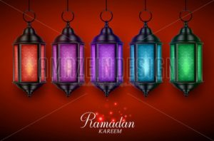Lantern Lamp or Fanous Vector Set with Colorful Lights Hanging in Red - Amazeindesign