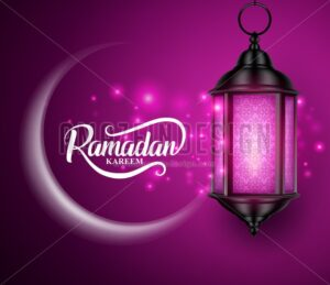 Lantern or Fanous Hanging with Crescent Moon and Lights for Ramadan - Amazeindesign