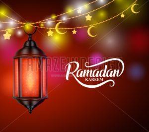 Ramadan Kareem Vector Design with Hanging Lantern or Fanoos - Amazeindesign