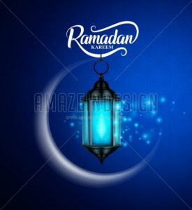 Ramadan Kareem Vector Greetings Design with Lantern or Fanoos - Amazeindesign