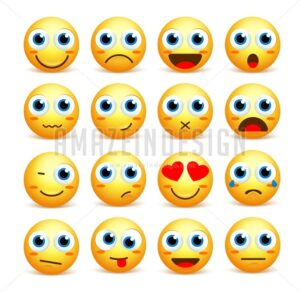 Smiley Face Vector Set of Emoticons and Icons - Amazeindesign