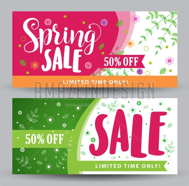 Spring Sale Banners with Different Colorful Designs - Amazeindesign
