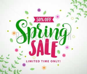 Spring Sale Vector Banner Design with Colorful Leaves - Amazeindesign