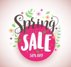 Spring Sale Vector Design Promotional Banner in Pink Circle - Amazeindesign