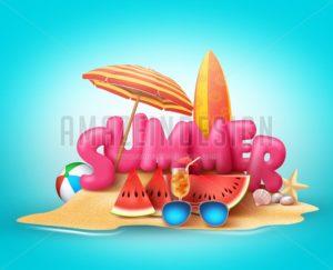 Summer Beach Vector Banner Design. Summer 3D Text - Amazeindesign