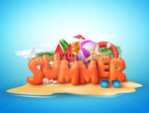 Summer Day Vector Design of 3D Summer Text in Beach Island - Amazeindesign