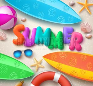 Summer Holiday Vector Background in Beach - Amazeindesign