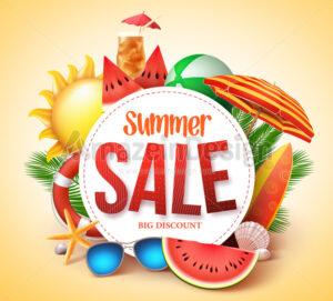 Summer Sale Vector Banner Design for Promotion - Amazeindesign