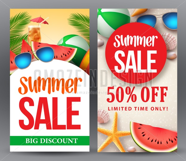 Summer Sale Vector Banner Set Designs - Amazeindesign