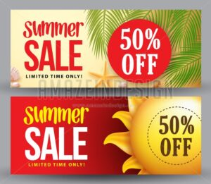 Summer Sale Vector Banner Set of Designs for Summer Holiday - Amazeindesign