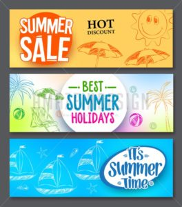 Summer Sale and Summer Holidays Vector Web Banner - Amazeindesign