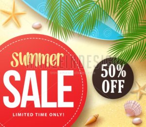 Summer Sale with 50% Off in Red Circle with Palm Leaves - Amazeindesign
