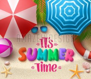 Summer Time Vector Colorful Text in the Sand with Beach Umbrellas - Amazeindesign