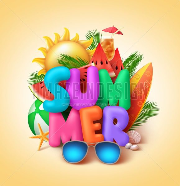 Summer Vector Banner Design with 3D Colorful Summer Text - Amazeindesign