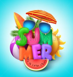 Summer Vector Banner Design with Colorful Text with Elements - Amazeindesign