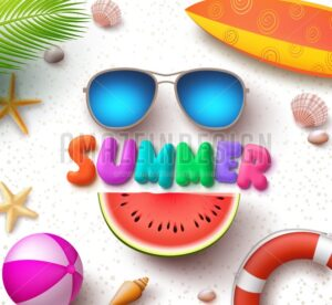 Summer Vector Text in White Sand Background with Sunglasses - Amazeindesign