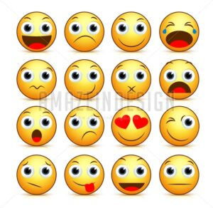 Vector Cartoon Smiley face Set of Yellow Emoticons - Amazeindesign