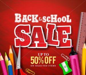 Back to School Sale Banner Vector Design with School Items - Amazeindesign