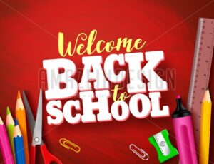 Back to School Vector Banner Design in Red Texture Background - Amazeindesign