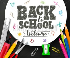Back to School Vector Banner Design with Drawing By Crayons - Amazeindesign