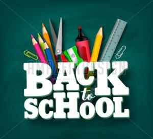 Back to School Vector Design with 3D Title and School Items - Amazeindesign