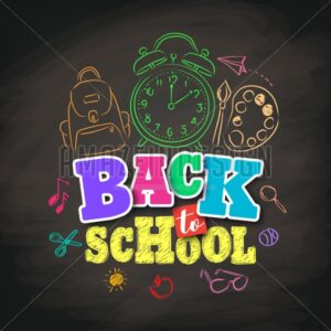 Back to School Vector Design with Colorful Texts and Education Related - Amazeindesign